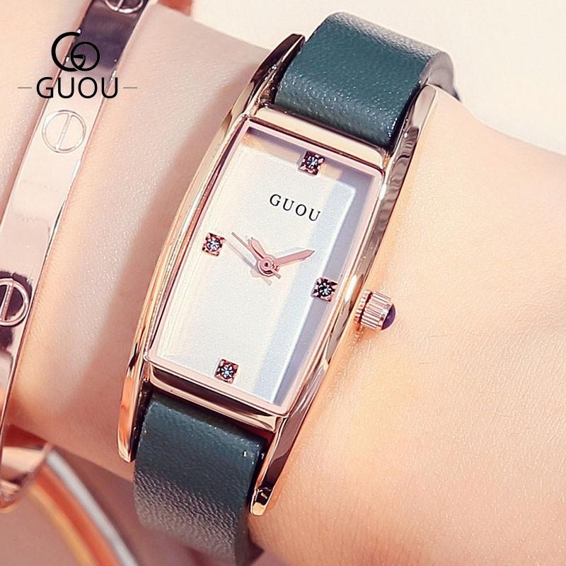 Đồng hồ nữ GUOU 8085 mặt chữ nhật đính đá sang trọng