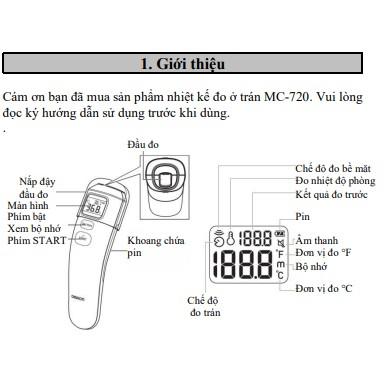 Nhiệt kế hồng ngoại Omron MC-720, Sản phẩm bảo hành chính hãng 2 năm, Thương hiệu Nhật Bản