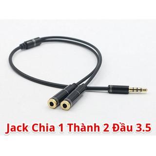 Jack chia tai nghe từ 1 cổng 3.5 thành 2 cổng tai nghe và micro (dài 30 cm)-C21 (1 dương 2 âm)