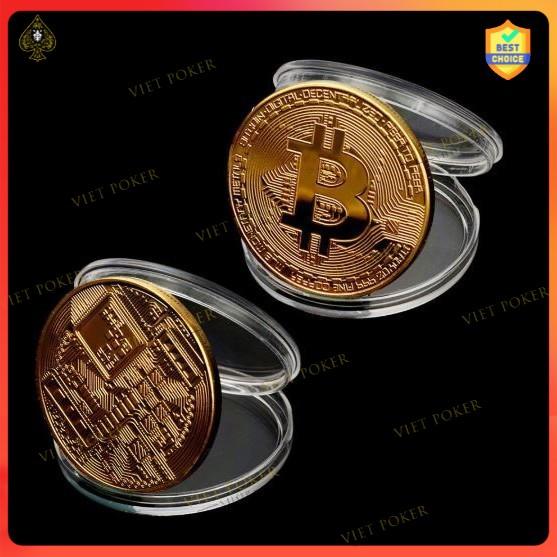 Poker Chip guard / Đồng tiền may mắn bằng Bitcoin mạ vàng để bảo vệ bài