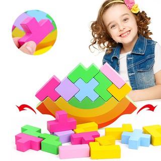 ✿INN✿ Tetris Building Blocks Balance Kindergarten Table Games Kids Baby Toy Swing Stacking Block