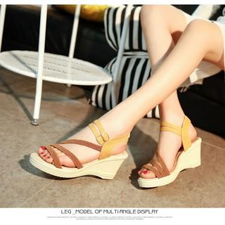 Giày sandal nữ, giày sandal nữ đế suồng 7p quai cói đế kếp có rãnh chống trơn trượt, hàng nhập Quảng Châu