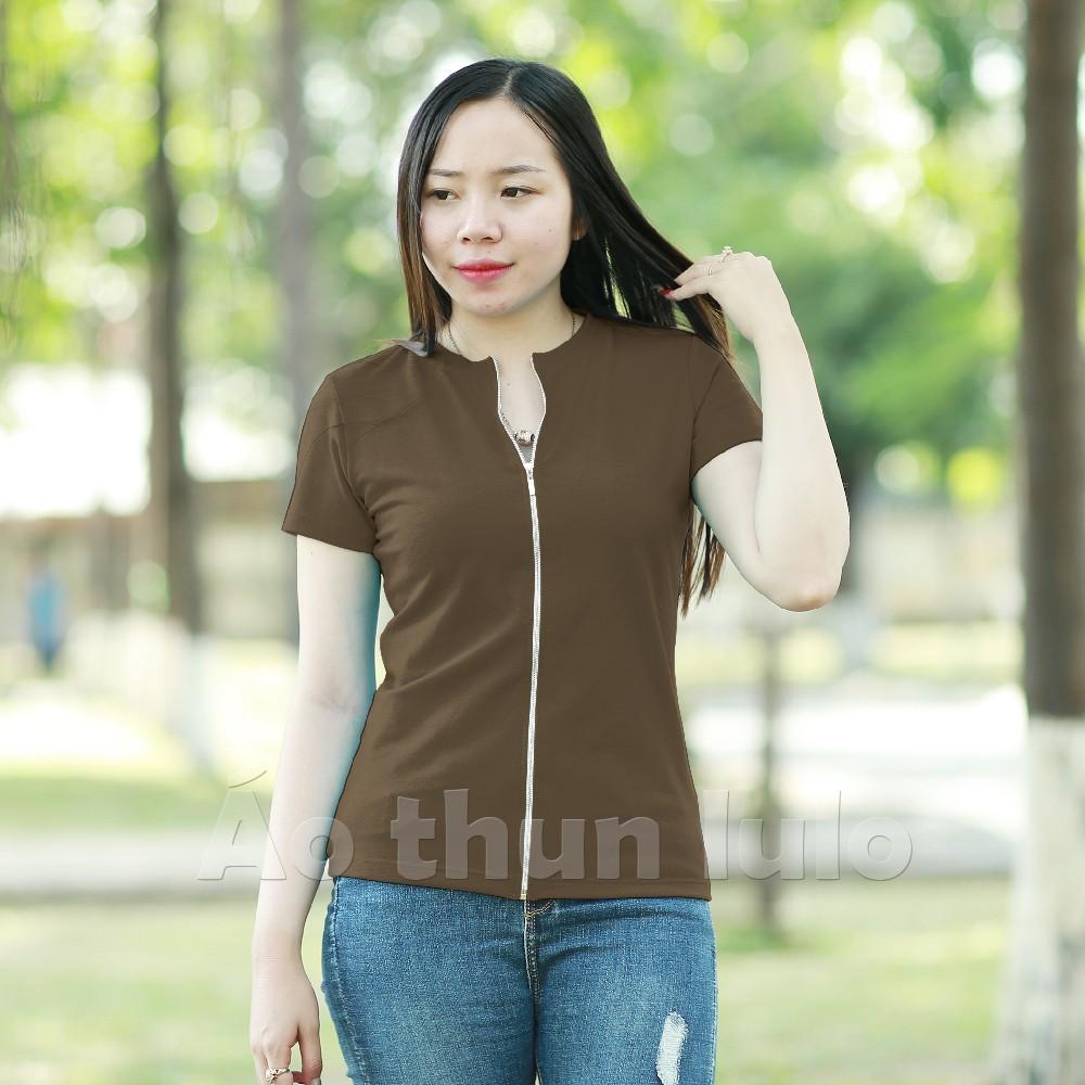 Áo thun nữ cổ tròn dây kéo dài tay ngắn - Nâu - 22273093 , 1008385873 , 322_1008385873 , 165000 , Ao-thun-nu-co-tron-day-keo-dai-tay-ngan-Nau-322_1008385873 , shopee.vn , Áo thun nữ cổ tròn dây kéo dài tay ngắn - Nâu