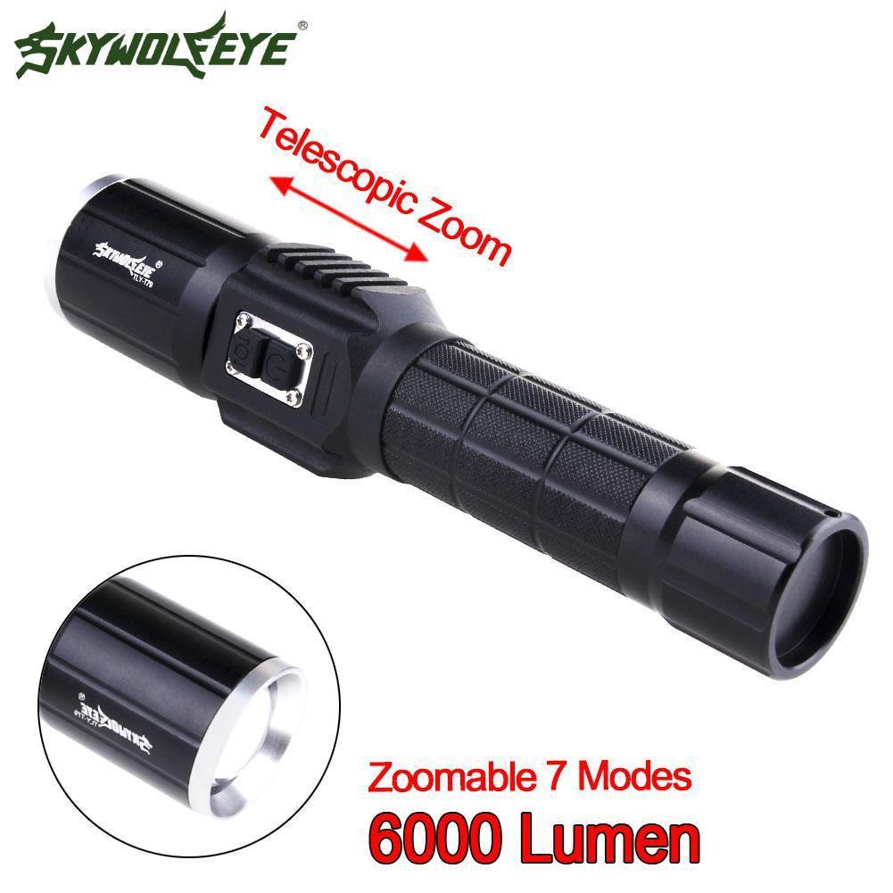 Đèn pin Skywolfeye CREE T6 7 có thể phóng to chất liệu nhôm độ sáng 6000Lm  kích thước 180 * 35 * 30mm và phụ kiện