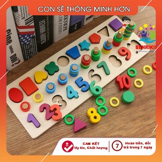 Giáo Cụ Montessori Cột Tính Bậc Thang Kèm Hình Khối Và Số Đ NO