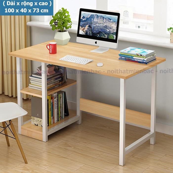 Bàn làm việc, học tập khung sắt kèm kệ giá sách trái để được nhiều đồ,  đặc biệt bàn lắp ráp dễ dàng do được định vị sẵn