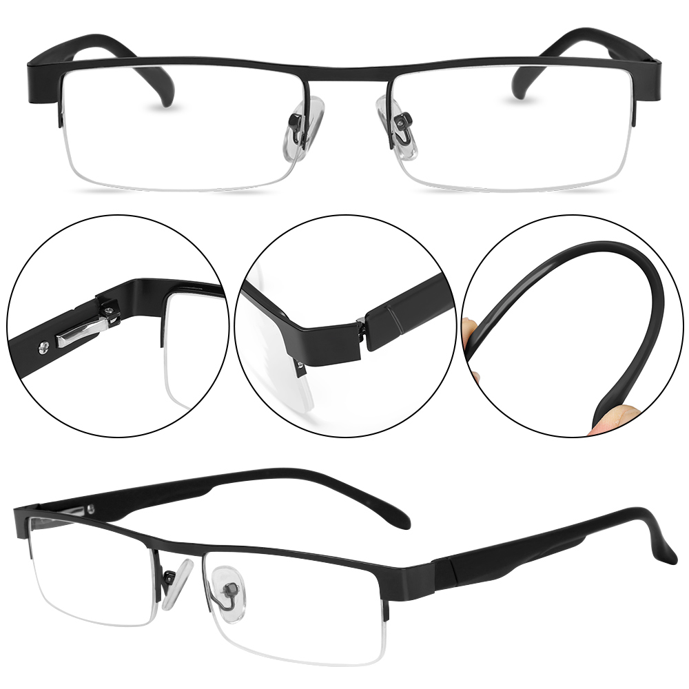 EMILEE💋 New Fashion Eyeglasses Flexible Portable +1.00~+4.0 Diopter Business Reading Glasses Ultra Light Resin Men Metal Titanium Alloy Eye wear...