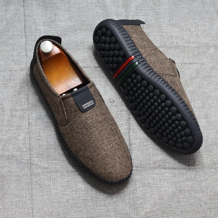 Giày nam - giày lười vải jean cao cấp bảo hành 12 tháng