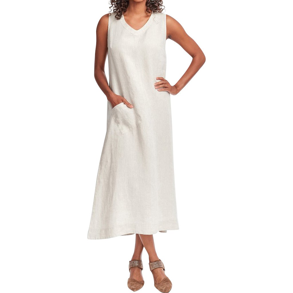 *^o^* 【Bestmeeet】Summer Fashion Women Solid V-Neck Sleeveless Pocket Cotton And Linen Long Casual Dress