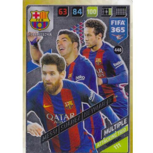 Thẻ Cầu Thủ/Thẻ Bóng Đá Panini FIFA 365 Multiple – Messi/Suarez/Neymar Jr – Barcelona