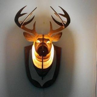 Đèn gỗ đầu Hươu treo tường đẹp