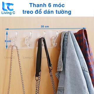 Móc treo quần áo dán tường Living C, giá treo đồ 6 móc kép nhựa loại lớn không cần khoan đục tiện lợi _6M thumbnail