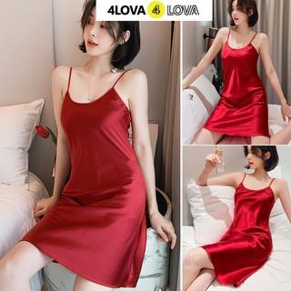Hình ảnh Váy ngủ 2 dây lụa satin cao cấp 4Lova mềm mịn, quyến rũ-2