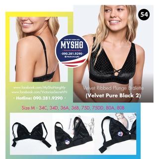 Áo bralette 54 Velvet Black, màu đen kết hạt, gài sau, không mút - Size M - Victoria s Secre thumbnail