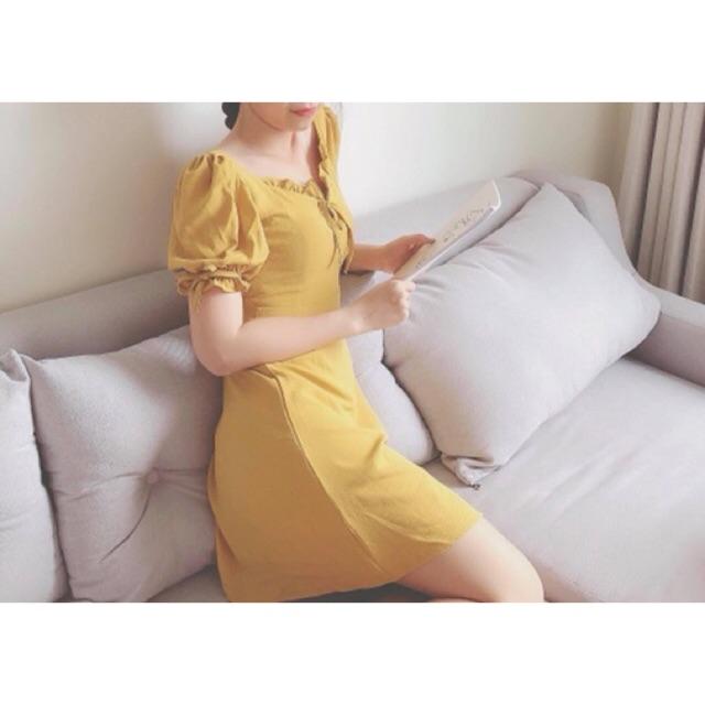 Đầm tay bồng rút 2 màu