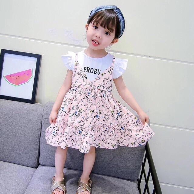 Váy yếm voan hoa nhí cho bé gái