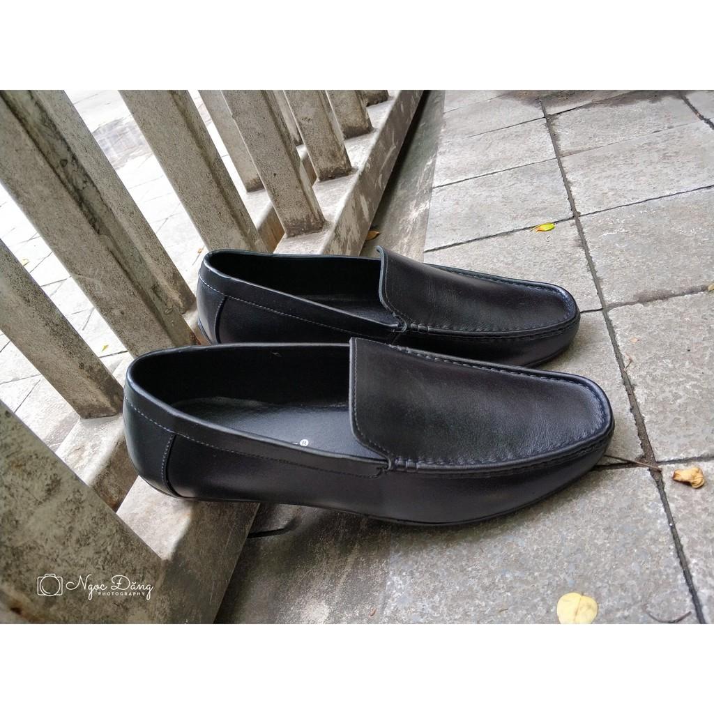 Giày lười da bò nam nguyên tấm đen- Giày lười mới nhất