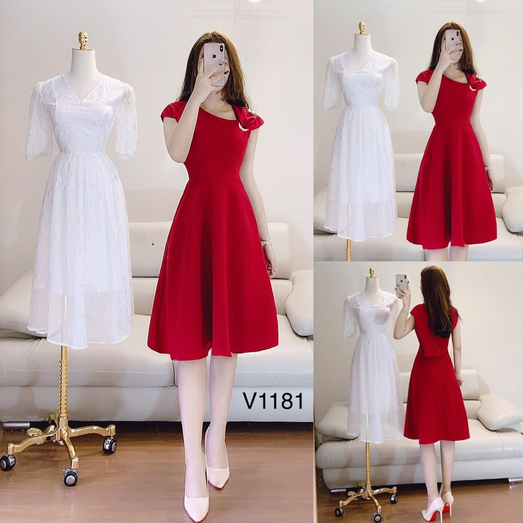Váy xòe đỏ V1181 - ĐẸP SHOP DVC ( Ảnh mẫu và ảnh trải sàn do shop tự chụp )