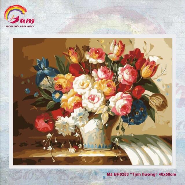 Tranh sơn dầu số hoá DIY tự vẽ - MÃ BH0253 TỊNH HƯƠNG 40x50cm có khung