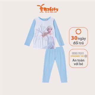 Set bộ quần áo thun Elsa dài tay bé gái Rabity 5297