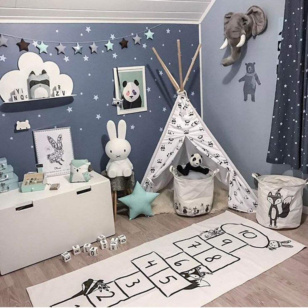 Nordic Style Room Decor World Map Baby Kids Checkers Play Game Mats