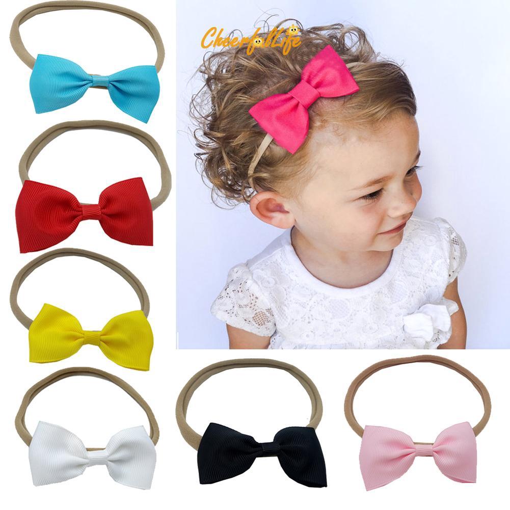 ✿Cheerful✿  10pcs Children's Nylon Hairbands Bowknot Headwear Elastic Headbands