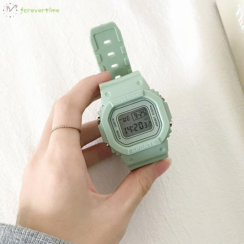 ☞ Phụ kiện trang sức☜ Women Green Digital Watch Girls Student Portable Wrist Watch with Soft Band
