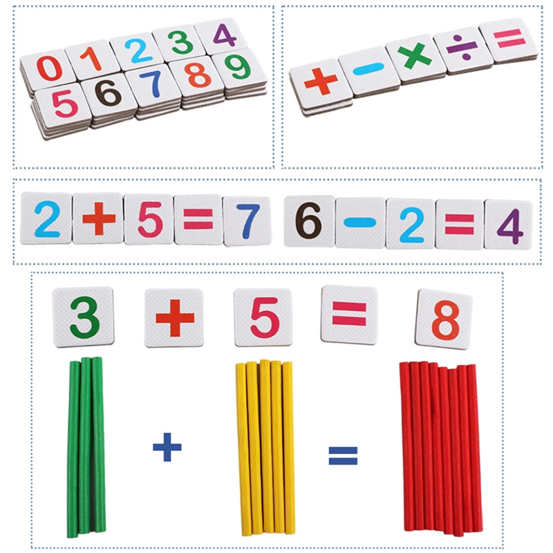 ☽ Preschool Kids Counting Wooden Sticks Number Matching Math Educational Toy Moira