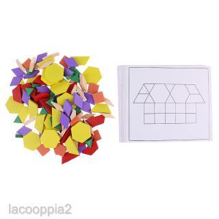 125x Wooden Geometric Building Blocks Board Kids Learning Match Training Toy