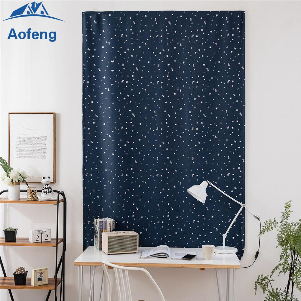 ✿Ready Stock✿ Navy Blue Silver Stars Print Self-Adhesive Blinds Blackout Window Curtains [aofeng]