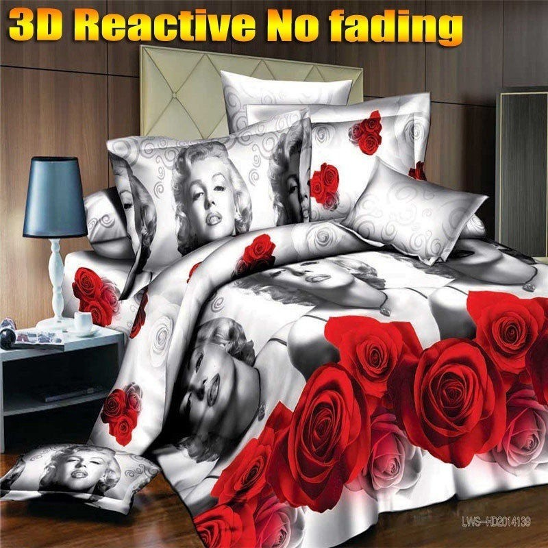 3 Pieces 3d Character bedding sets Marilyn Monroe and red rose (1 Duvet Cov