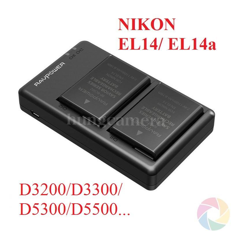 Bộ pin sạc Ravpower EL14 cho NIKON D3200/D3300/D5300/D5500/D5600… Chính hãng