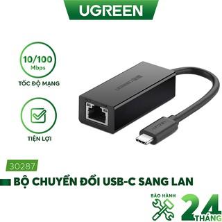 Bộ chuyển đổi USB Type C san LAN 10/100 Mbps Ethernet - dài 40CM - UGREEN 30287 (màu đen)