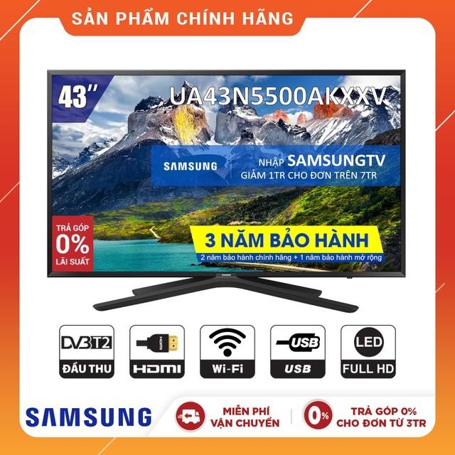 [Nhập SAMSUNGTV Giảm 1TR] Smart Tivi Samsung 43 inch Full HD UA43N5500AKXXV