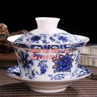 Chén trà có nắp Trung Quốc kiểu cổ loại lớn 350ml