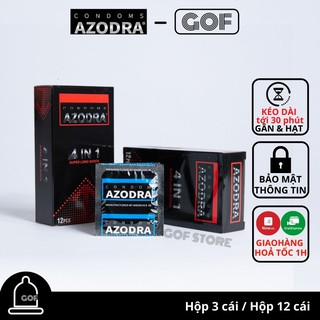 Bao cao su kéo dài thời gian Azodra 4 in 1 gai gân Hộp 12 cái – GoF
