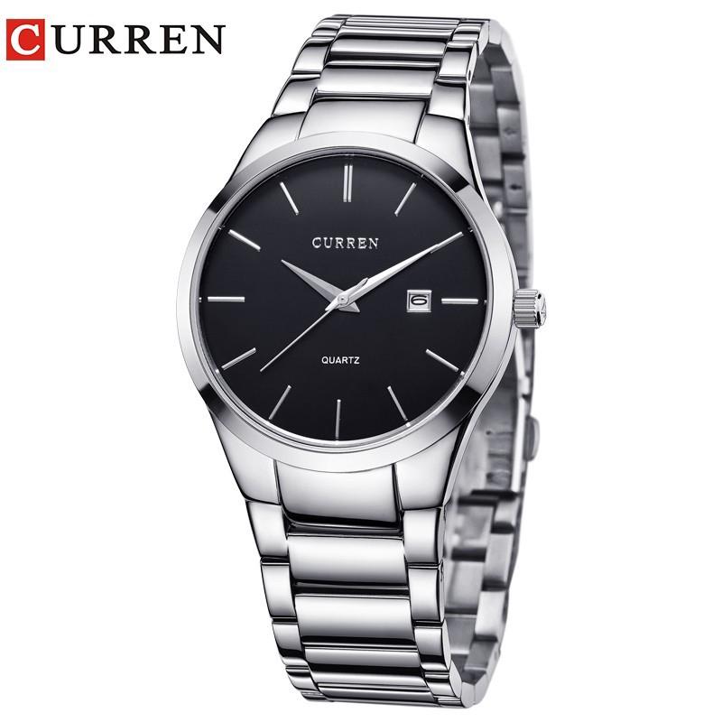 [Mã WTCHFEB giảm 20K ] Đồng hồ quartz Curren chống thấm nước với dây đeo thép không gỉ