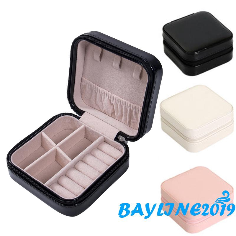 ❀ℳay-Mini Faux Leather Travel Necklace Ring Box Portable Jewelry Storage Box