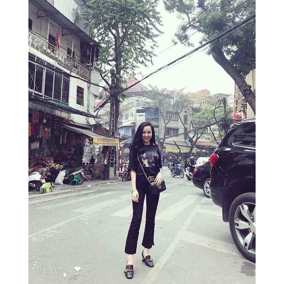 quần jean nữ dài lưng cao ống loe  màu đen tua ol01