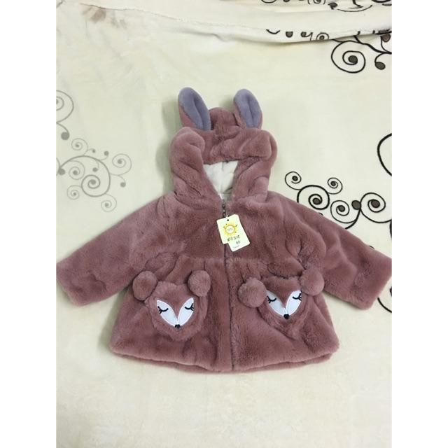 (Thanh lý) Áo khoác lông có mũ tai thỏ cho bé