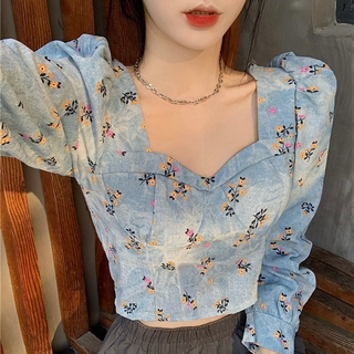 Pretty ❀ Women Jeans Puff Long Sleeve Crop Top Vintage Square Neck Floral Blouse Tee ❃