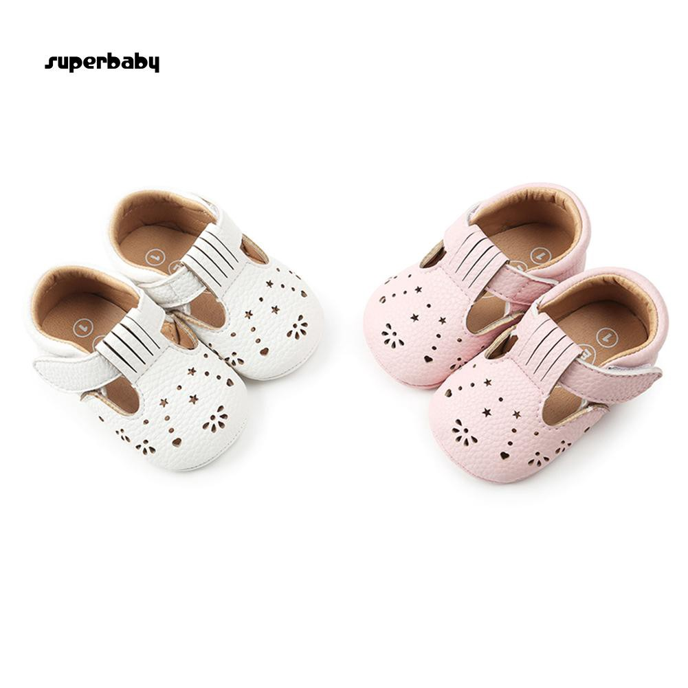 SBaby-Fashion Hollowed Flowers Stars Faux Leather Magic Tape Baby Toddler Shoes Gift