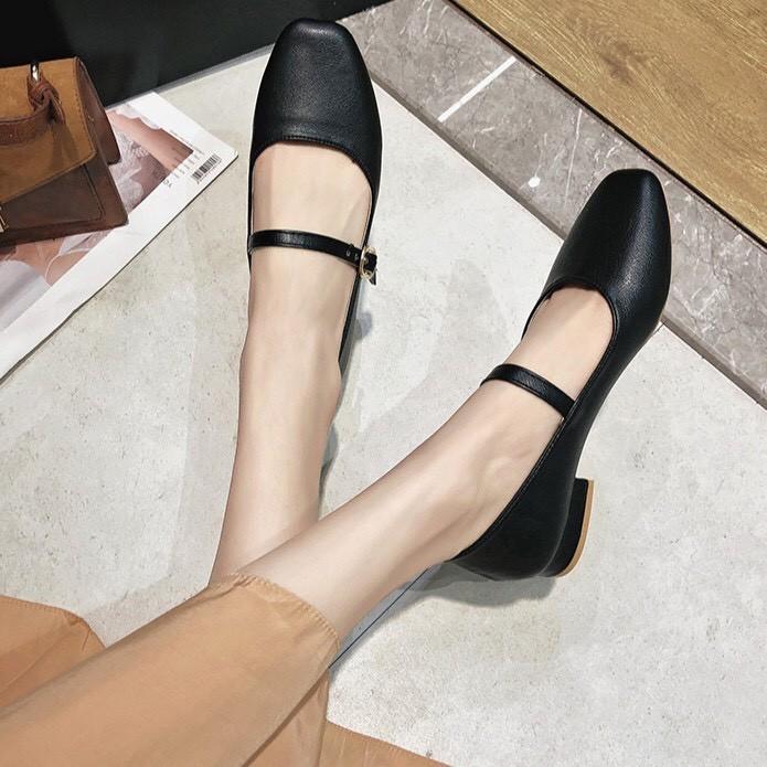 Giày búp bê mũi vuông da đẹp tiểu thư ( mã A7 )