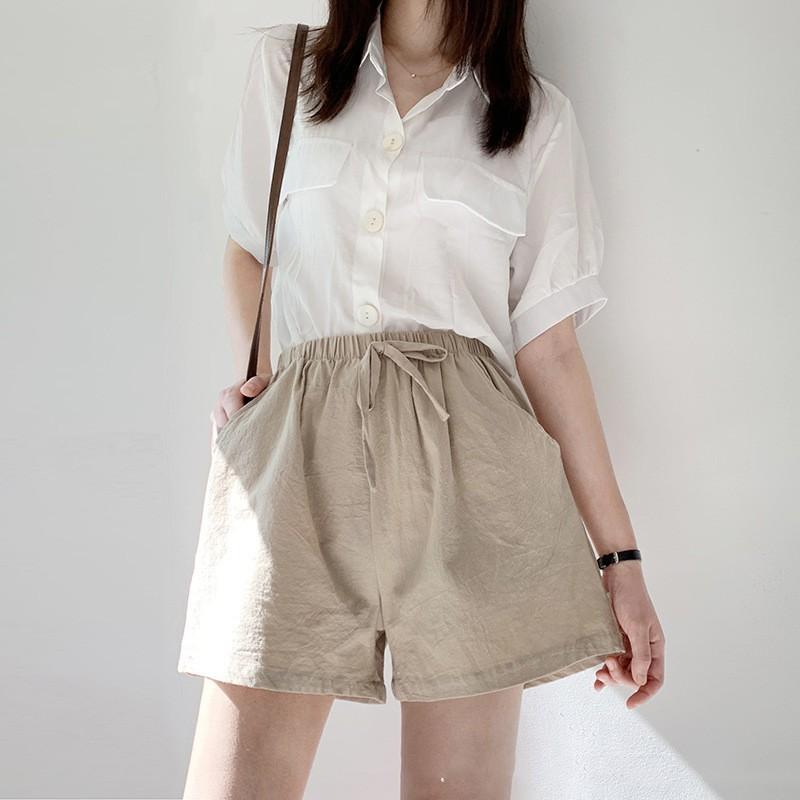 Quần short nữ ống rộng vải đũi MADELA, Quần đùi nữ ống rộng cá tính siêu đẹp
