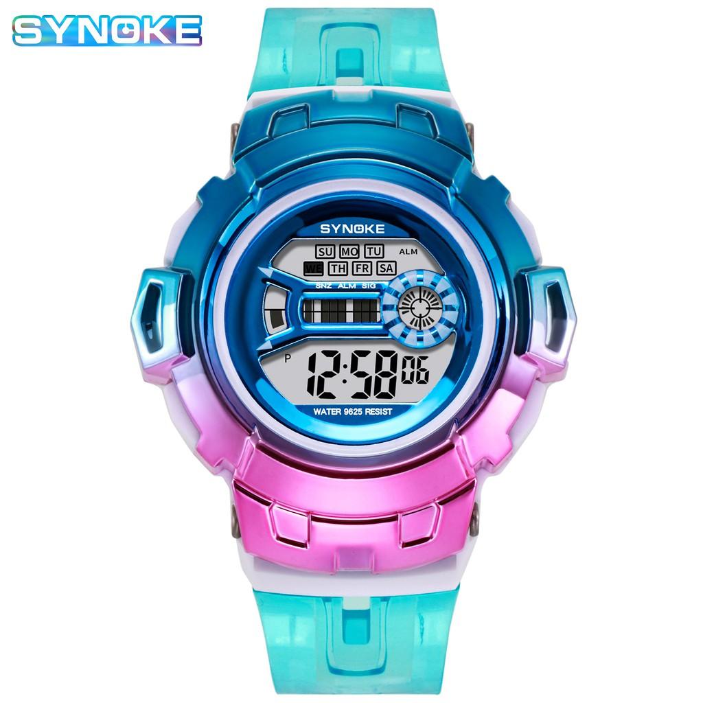 Đồng hồ điện tử thể thao thời trang trang unisex (nam - nữ) mặt tròn dây nhựa cao cấp SYNOKE PKHRSNK012 (50 mm)