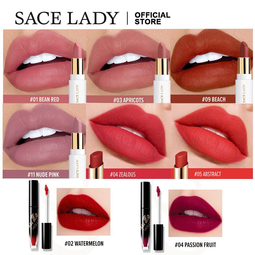 Bộ mỹ phẩm SACE LADY gồm son môi + bút kẻ mắt + kem nền + chì kẻ lông mày + bảng phấn mắt + mascara + mút tán phấn nền