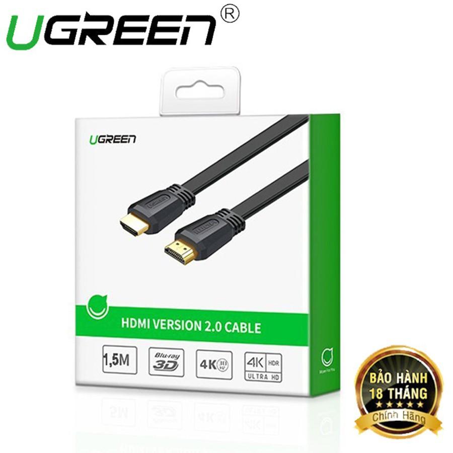 Mã ELAPR10K giảm 10k đơn 20k] Cáp HDMI 2.0 Ugreen 50819 dây dẹt dài 1.5m hỗ  trợ 4K cao cấp - HapuStore chính hãng 140,000đ