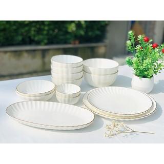 Bộ bát đĩa cao cấp Cotton 4 người tối giản (13P) - Erato - Hàng nhập khẩu Hàn Quốc