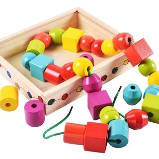 Đồ Chơi Gỗ Thông Minh Bộ Xâu 30 Hạt To 6 Màu Montessori