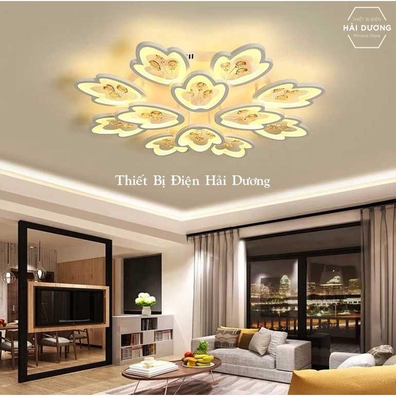 Đèn LED ốp trần hình hoa 12 cánh NT032 - 3 Chế Độ Ánh Sáng - Tăng Giảm Ánh Sáng - Điều Khiển Từ Xa - Kết Nối Điện THoại